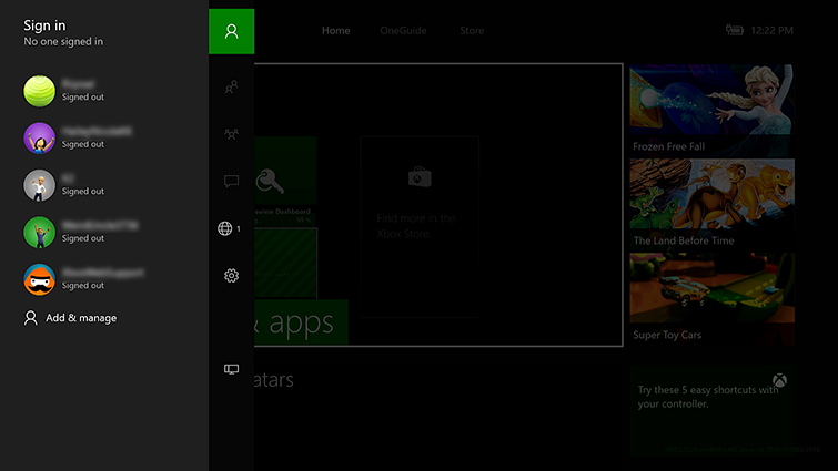 The sign-in panel, which contains a list of account names and gamerpics, is displayed on the side of the Xbox Home screen.