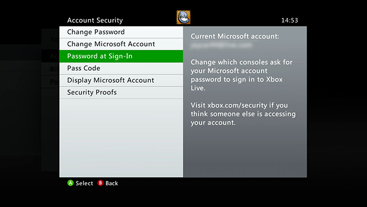The 'Password at Sign-in' option is highlighted on the Account Security screen.