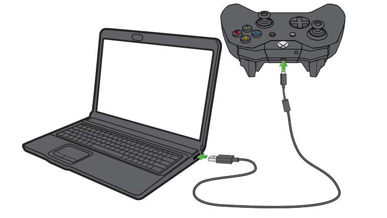 Xbox Wireless Controller connecting to PC via USB cable