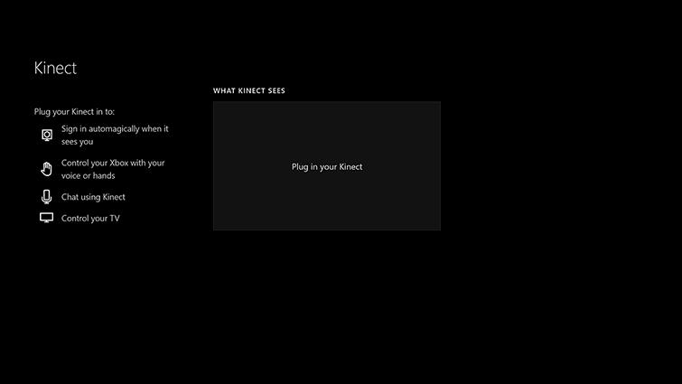 Het scherm 'Wat Kinect ziet', zonder beeld en met de woorden 'Sluit de Kinect aan'