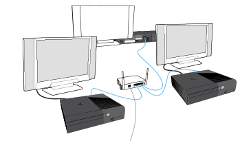 How to system link xbox 360 connect multiple xbox consoles together method 2 connect more than two consoles together wired connection ccuart Images