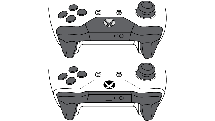 An illustration shows two Xbox Wireless Controllers. The bottom controller, with the plastic around the Xbox button included in the face of the controller, is the one that supports Bluetooth.