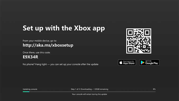 Svart konfigurationsskärm med en QR-kod och texten Konfigurera med Xbox-appen.