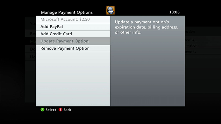 Update Your Billing Contact Information on Xbox 360