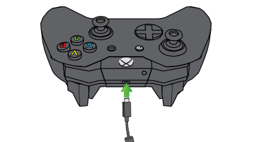 In an illustration, an arrow emphasizes the expansion port on the Xbox One Wireless Controller.