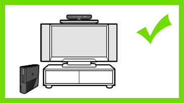 A Kinect sensor is mounted just above a TV and centred. A check mark is next to the image.
