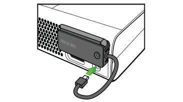 An arrow emphasizes the Ethernet port connection of the Xbox 360 Wireless Networking Adapter to an Original Xbox 360 console.