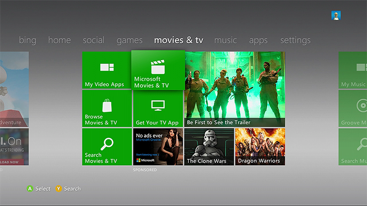 O bloco Filmes e TV Microsoft no Menu Xbox 360