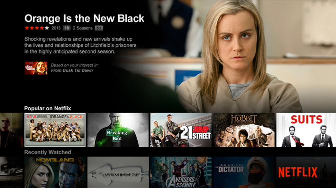 Netfix screen on Xbox One