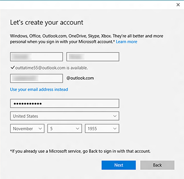 The 'Let's create your account' screen allows you to create a new Microsoft account with either a new email address or a pre-existing email address.