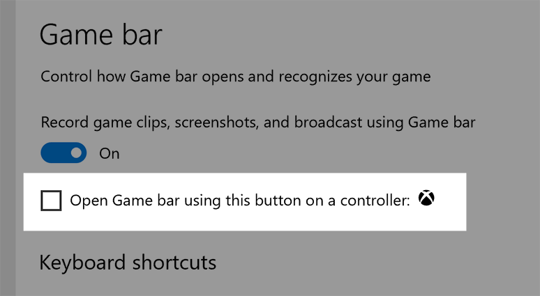 On the 'Settings for Game bar' screen, the option to 'Open Game bar using the Xbox Guide button on a controller' has a check mark next to it and is emphasized.