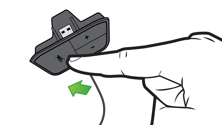 In an illustration, an arrow and finger emphasize the mute button on the headset controls.