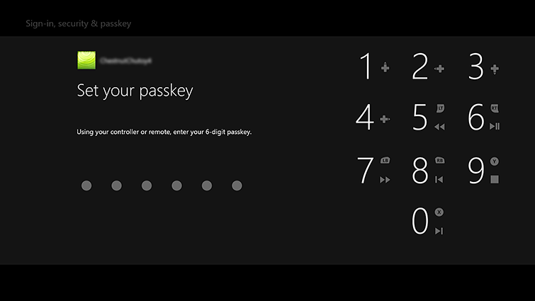 The 'Set your passkey screen', which includes a number pad