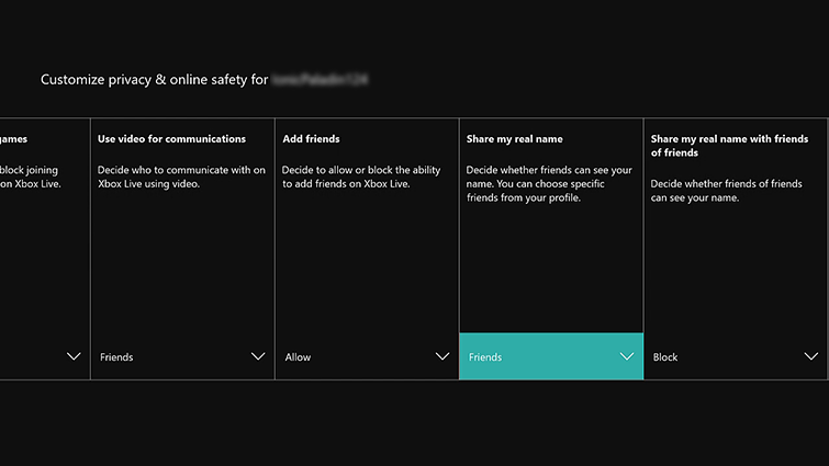 The 'Customize privacy & online safety screen' is displayed, and the 'Share my real name,' area is visible, along with several others.