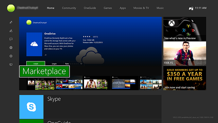 The Xbox One Home screen, with the Guide displayed