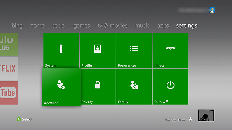 The main Xbox 360 'settings' screen with the Account tile highlighted