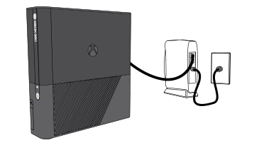 The image shows an Xbox 360 console connected to an Ethernet router.