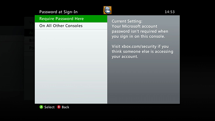The 'Password at Sign-In' screen includes options for 'On All Other Consoles' and 'Require Password Here', which is highlighted.
