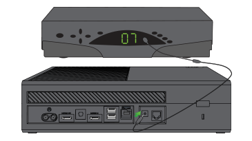 An illustration shows an Xbox One console connected to another device with an IR extension cable.