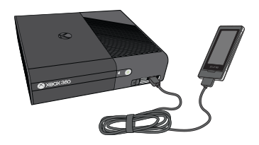An illustration of a portable media player plugged into an Xbox 360 console