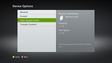 Clear System Cache selected from the System Device Options menu on the Xbox 360 console.