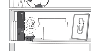 Xbox 360 본체가 전원 공급 장치 위의 돌돌 말린 천과 여러 게임 상자 사이에 빽빽하게 놓여 있습니다.