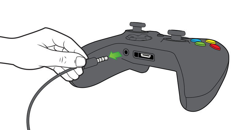 An illustration shows unplugging the 3.5-mm chat headset from the controller.