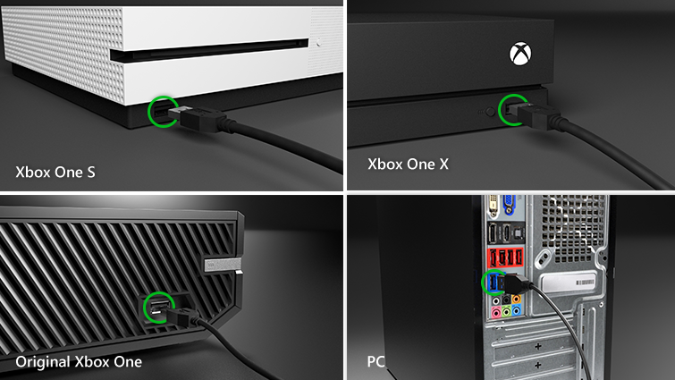 USB-C cable plugs into Xbox One S, Xbox One X, Original Xbox One, or PC