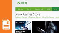 A sample screen from the Games app shows the Xbox Games Store.