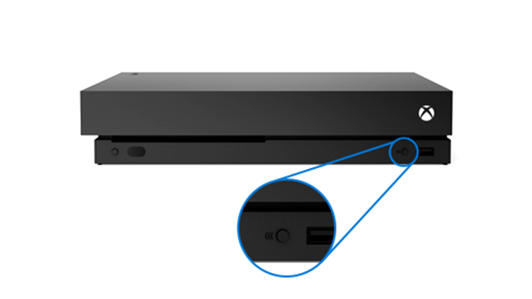 Connect button on the front of the Xbox One X