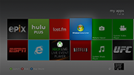 Various Xbox Live app tiles on the Xbox 360 Dashboard