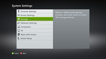Storage selected from the System Settings menu on the Xbox 360 console.
