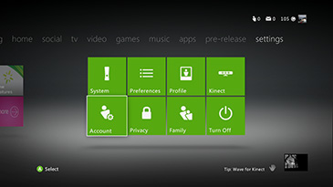 Account screen on the Xbox 360 console settings tab.