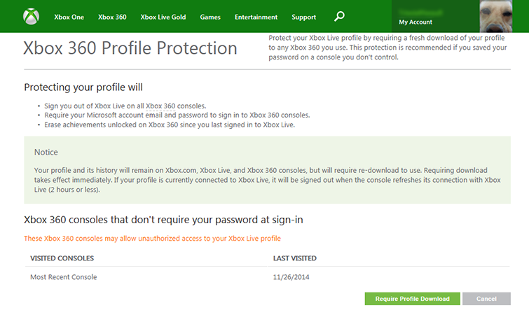 The Xbox 360 Profile Protection page shows when you last used your console and whether or not you require your password at sign-in.