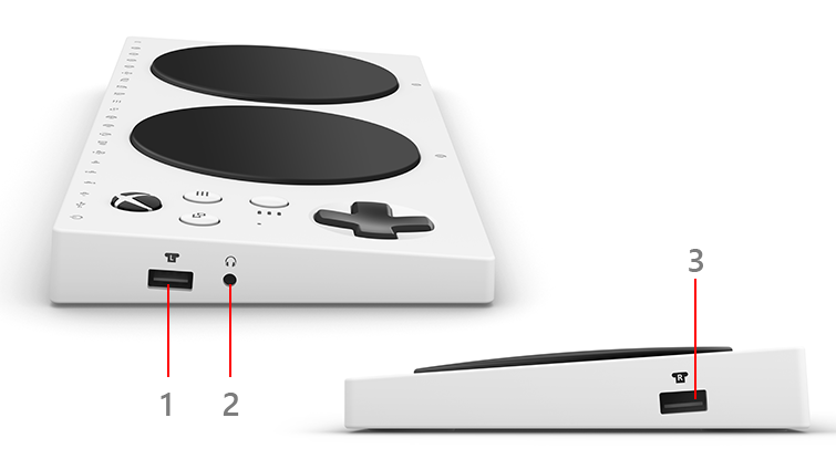 The sides of the Xbox Adaptive Controller