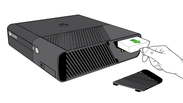 An illustration of a hand pulling the tab on an Xbox 360 Hard Drive to remove it from the hard drive slot on an Xbox 360 E console