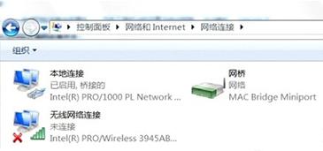 """一个屏幕显示可用的网络连接,包括处于选定状态的""""网桥""""。"""
