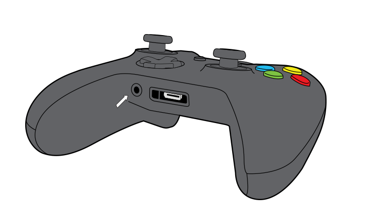 En pil fremhæver 3,5-mm porten på Xbox One Wireless Controller.