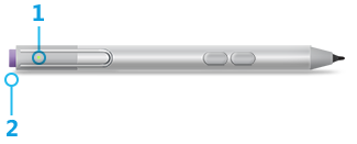 A drawing of the Surface Pen with two side buttons, with the pen light marked with number 1 and the Top button marked with number 2