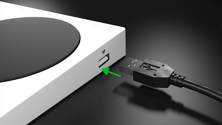 USB 2.0 connection to right side of Xbox Adaptive Controller