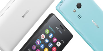 Three Nokia phones positioned dynamically in colors of light blue, white and black