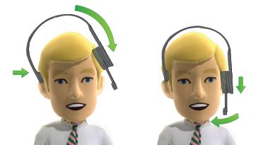 La imagen muestra la posición correcta del audífono del auricular y el micrófono en la cabeza de un hombre.