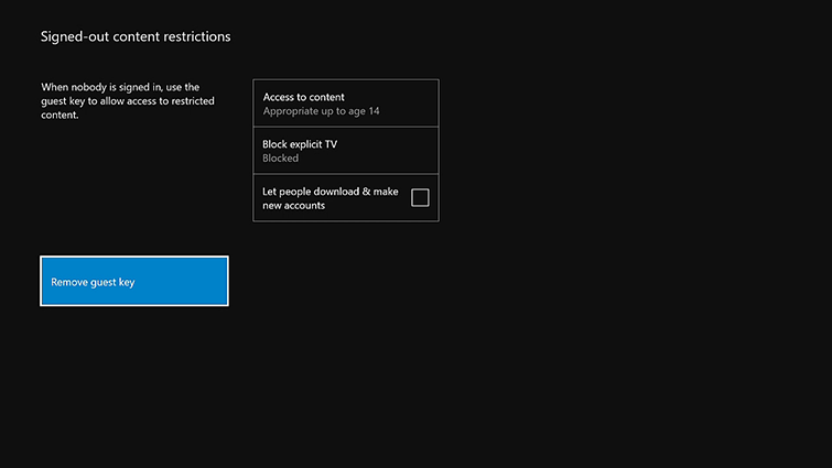 The 'Signed-out content restrictions' screen, with the 'Remove guest key' option highlighted