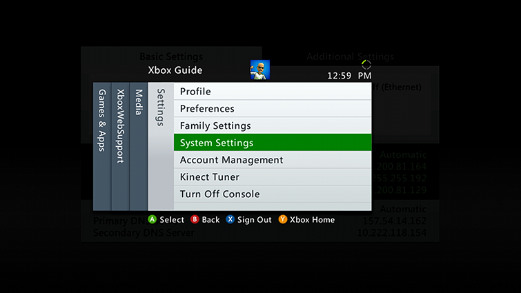 The Settings tab in the Xbox 360 Guide, with the 'System Settings' option highlighted
