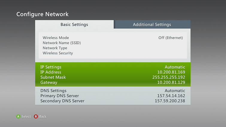 the basic settings tab is selected on the configure network screen, with ip  settings details
