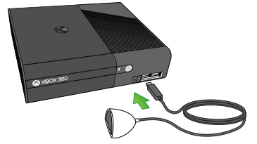 The arrow indicates the port you plug the infrared receiver into on the Xbox 360 E console.
