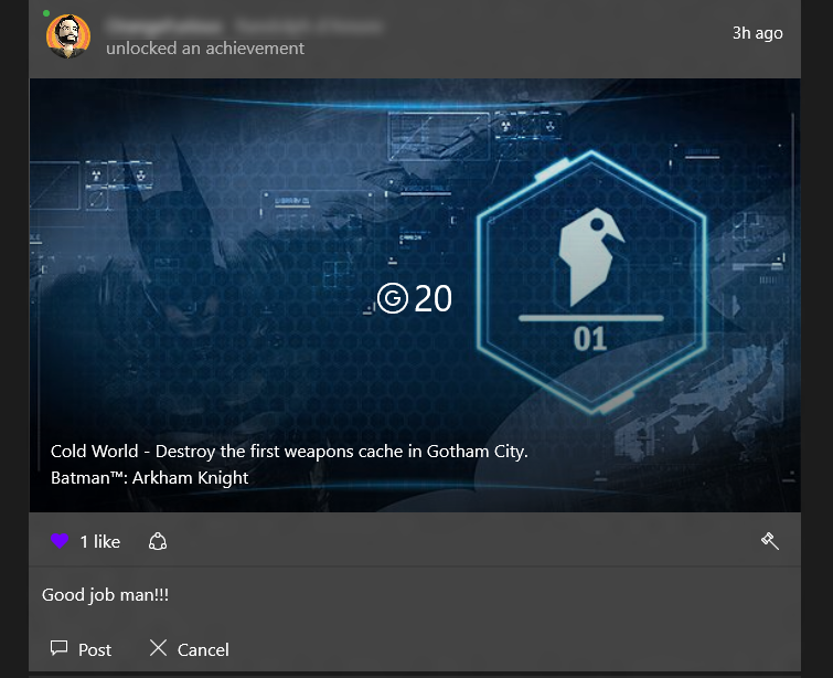 An achievement screen includes a comment left by a friend. The words 'Good Job, Mann!!!' appear under the achievement notice.