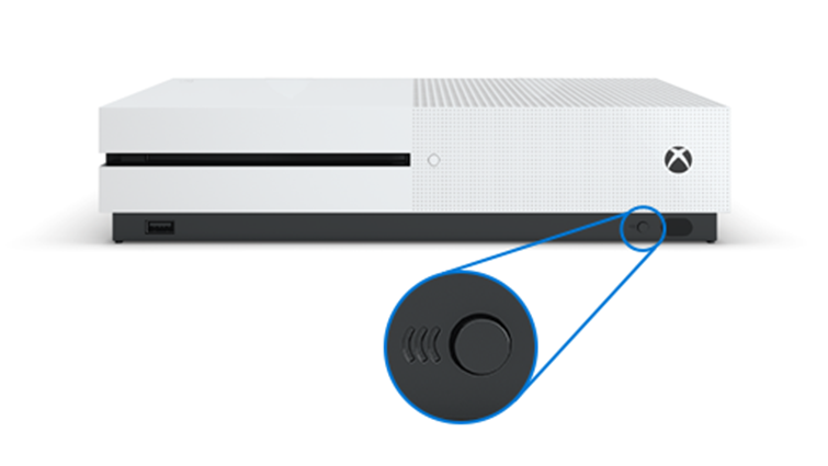 Connect button on the front of the Xbox One S