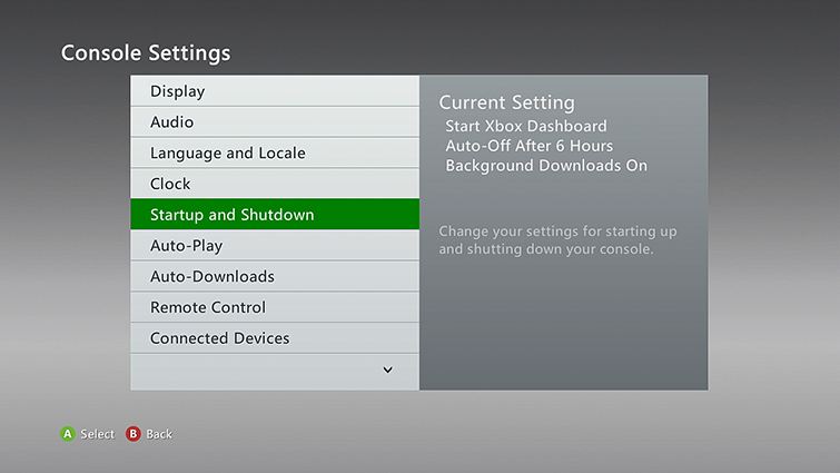 The Console Settings screen, with 'Startup and Shutdown' selected.