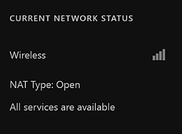 The central portion of the Network settings screen displays the connection type, which is wireless or wired, the NAT type, and whether Xbox Live services are available.